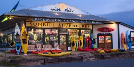 Sunrift Adventures' storefront in Travelers Rest, South Carolina